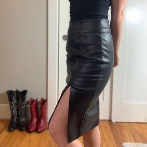 Pleather high waisted pencil skirt